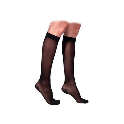 Sigvaris 770 Truly Transparent 30-40 mmHg Women's Closed Toe Knee High Sock Size: Large Short, Color: Black 99