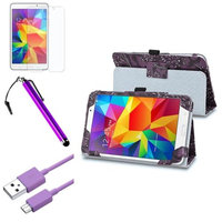 Insten INSTEN Purple Flower Leather Stand Case+AG Protector+Cable For Samsung Galaxy Tab 4 7.0 T230