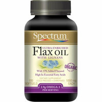 Spectrum Essentials Organic Ultra Enriched Flax Oil with Lignans 100 Softgels