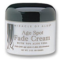 Miracle of Aloe Age Spot Fade Cream 2 Oz. Helps Fade Age Spots and Skin Blemishes. Rich Skin Supplement Blended with 50% Pure Aloe Vera Gel. Helps Reduce Unsightly Age Spots and Skin Blemishes. Fast Active Ingredients Allow for Cream to Deliver Visible Results Almost Instantly. Acne, Eczema, Psoriasis, Rosacea, Dry Peeling Flaky Skin Solution, Dark Circles, Dark Spots.