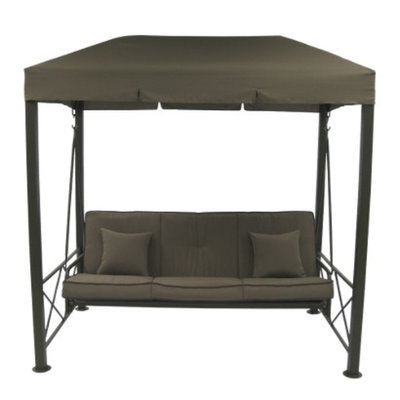 Numark 3 Person Patio Swing With Gazebo Top Cover - Brown