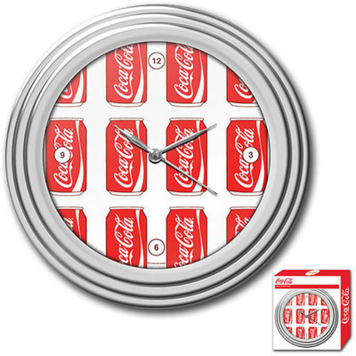 Trademark Global Coca-Cola Clock, Cans Style, Chrome Finish, 11.75 inches, 1 ea