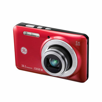 GE Red J1658W Digital Camera with 16 Megapixels and 5x Optical Zoom
