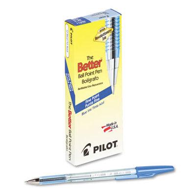 Pilot Better Ballpoint Stick Pen, Blue Ink, Fine, Dozen