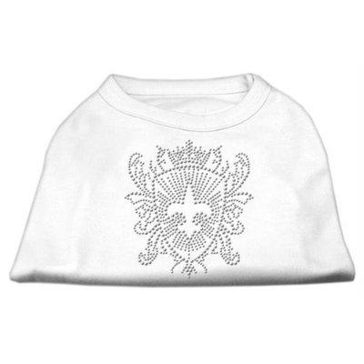 Mirage Pet Products 5232 XLWT Rhinestone Fleur De Lis Shield Shirts White XL 16