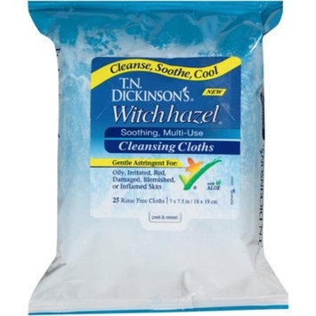 Dickinson's Brands T.N. Dickinson's Witch Hazel Soothing, Multi-Use Cleansing Cloths, 25 sheets