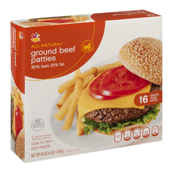 Ahold All Natural Ground Beef Patties - 16 CT