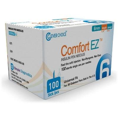 Clever Choice ComfortEZ Insulin Pen Needles 31G 6mm 100/bx