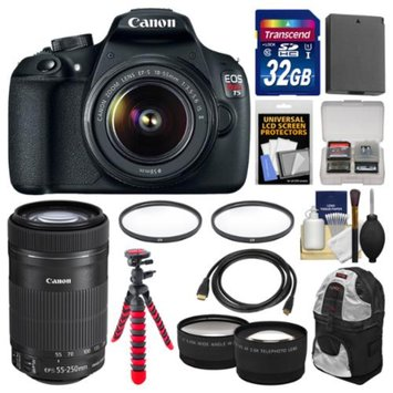Canon EOS Rebel T5 Digital SLR Camera Body & EF-S 18-55mm IS II with 55-250mm IS STM Lens + 32GB Card + Case + Battery + Tripod + Kit