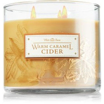 1 X Bath & Body Works White Barn WARM CARAMEL CIDER 3 Wick Scented Candle 14.5 oz./411 g