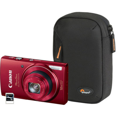 Canon Red PowerShot ELPH 150 9362B001-3A-KIT Digital Camera with 20 Megapixels and 10x Optical Zoom