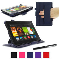 roocase Amazon Kindle Fire HDX 7 Case - Slim Fit Multi Angle Tablet 7-Inch 7 Stand Cover - Navy (With Auto Wake / Sleep Cover)