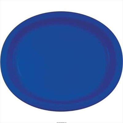 Creative Converting 433147 10 X 12 In. Cobalt Oval Platters Paper - Case of 96