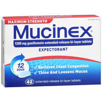 Mucinex Maximum Strength 1200 mg 12 Hour Extended-Release Bi-Layer Tablets
