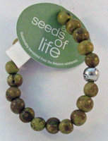 Whitney Howard Designs Seeds of Life Bracelet w Antique Silver World Bead Tiger Green Whitney Howard De
