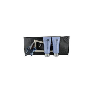 ANGEL by Thierry Mugler SET-EAU DE PARFUM SPRAY REFILLABLE .8 OZ & SHOWER GEL 3.5 OZ & BODY LOTION 3.5 OZ & CLUTCH for