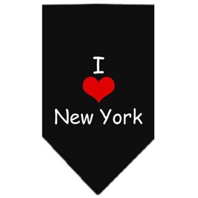 Mirage Pet Products 6635 SMBK I Heart New York Screen Print Bandana Black Small