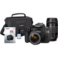 Canon Black Rebel T5 18 MP Digital SLR Camera Bundle with 18mm-55mm and 75mm-300mm Lenses, Includes Bag, Memory Card and DVD