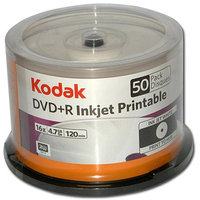 Kodak 52550 DVD Plus R 4.7Gb 50Pk Spindle White Inkjet Prntble