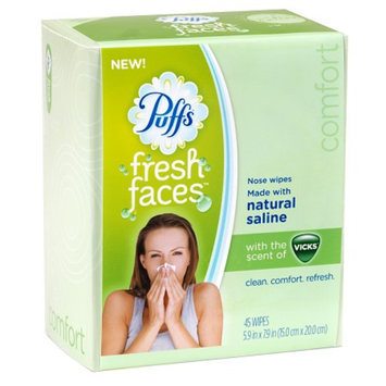 Puffs Fresh Faces Nose Wipes, Vicks Menthol, 45 ct
