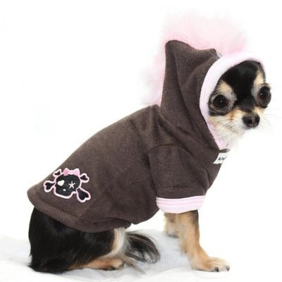 Hip Doggie Pink Skull Mohawk Hoodie, Size: XS