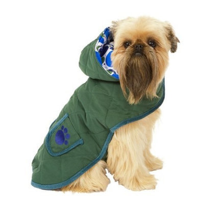 Fashion Pet Green Quilted Paw Dog Blanket Coat Medium