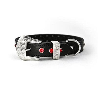 Zuri Collection 092145348185 Black Leather Collar, Red Swarovski Crystal Large 1