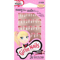 Little Fing'rs Girlie Nails Stick-On Nails, Red, 31496, 24 count