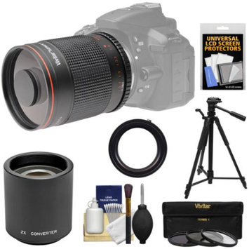 Vivitar 500mm f/8.0 Mirror Lens with 2x Teleconverter (=1000mm) + Tripod + 3 Filters Kit for Sony Alpha A57, A58, A65, A77 II, A99 Digital Camera