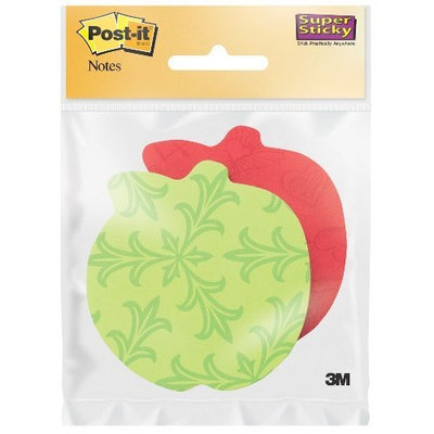 Post It Post-it Super Sticky Notes, 3 in x 3 in, Apple Shape, Assorted Colors, 2 Pads/Pack (7350-APL)