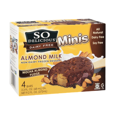 So Delicious Dairy Free Frozen Dessert Minis Almond Milk Mocha Almond Fudge - 4 CT