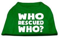 Ahi Who Rescued Who Screen Print Shirt Green Sm (10)