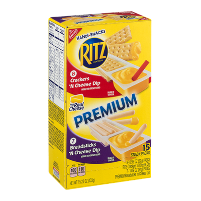 Nabisco Handi-Snacks Ritz Crackers 'N Cheese Dip / Premium Breadsticks 'N Cheese Dip Snack Packs - 15 CT