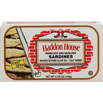 Haddon House sardines, boneless and skinless packed in pure olive oil, salt added 4.35 oz Box