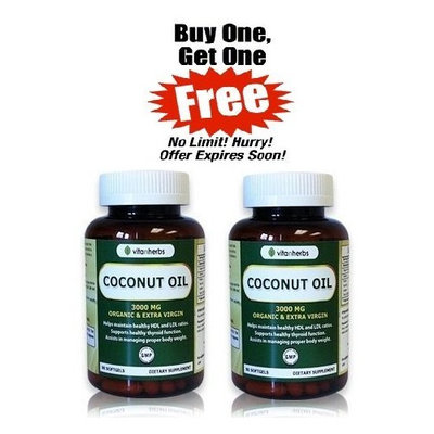 Vitanherbs Brand Vitanherbs Coconut Oil, Organic & Extra Virgin 3000 Mg, 90 Softgels (Total 180 Softgles in 2 Bottles)