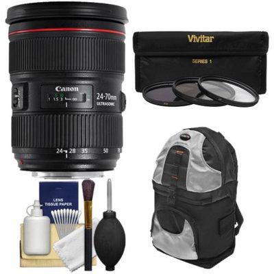 Canon EF 24-70mm f/2.8 L II USM Zoom Lens with Backpack + 3 Filters Kit for EOS 6D, 70D, 7D 5D Mark II III, Rebel T3, T3i, T5, T5i, SL1 DSLR Camera