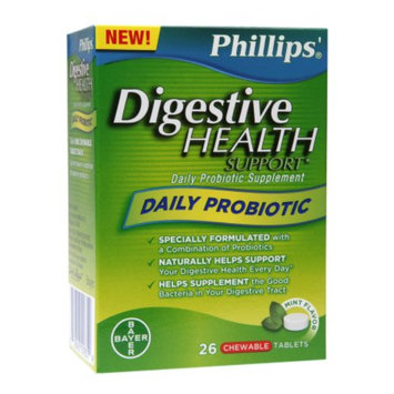 Phillips Daily Probiotic, Chewable Tablets, Mint, 26 ea
