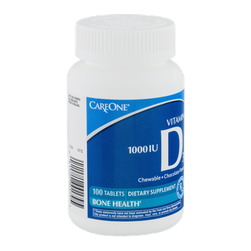 CareOne Vitamin D3 Chewable Tablets Chocolate Flavor 1000 IU - 100 CT