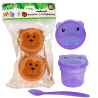 Purple Hippo Animal Snack Containers ~ 2 Cups with Lids and a Spoon (Purple)