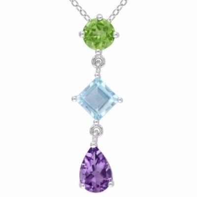 Amour Silver Amethyst, Peridot & Topaz Pendant, Green, Blue, Purple, 1 ea