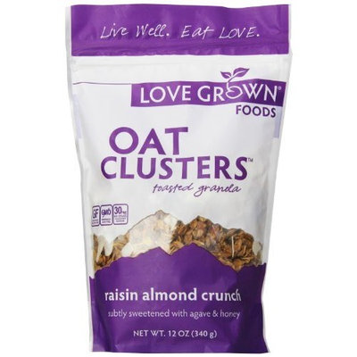Love Grown Foods Oat Clusters and Love, Raisin Almond Crunch, 12 Ounce