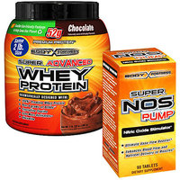 Body Fortress 2lb Chocolate Whey Protein Powder + 90ct Super Nos Pump Nitric Oxide Stimulator Bundle