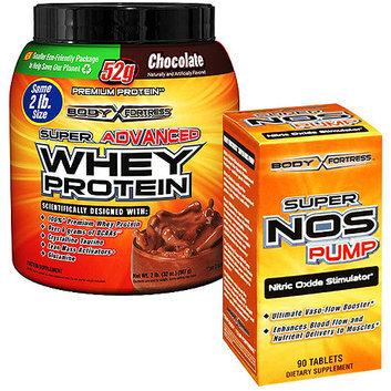 Body Fortress 2lb Chocolate Whey Protein Powder + 90ct Super Nos Pump Nitric Oxide Stimulator Bundle
