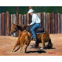 Olde Time Mercantile Cutting Horse II Portrait Matted Art Print - 5 in x 7 in Design - 8 in x 10 in Matted