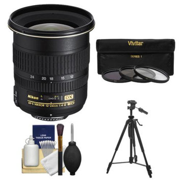 Nikon 12-24mm f/4 G DX AF-S ED-IF Zoom-Nikkor Lens with 3 UV/ND8/CPL Filters + Tripod + Cleaning Kit for D3100, D3200, D3300, D5100, D5200, D5300, D7000, D7100 DSLR Cameras