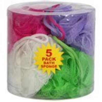 April Bath and Shower Small Net Scrubbie 5 Sponges Mesh Pouf Loofah 5 Pack