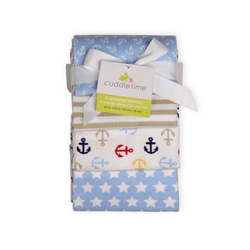 Cuddletime Newborn Boy's 4 Pack Receiving Blankets Nautical - TRIBORO QUILT MFG. CORP.
