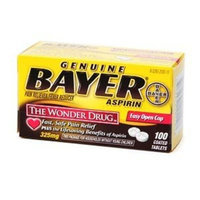 Genuine Bayer Aspirin Pain Reliever, 325mg Tablets, Easy Open Cap 100 ea