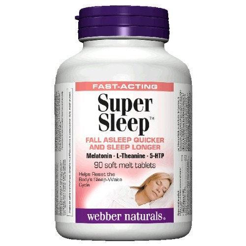Webber Naturals Super Sleep Melatonin Plus L-Theanine & 5-HTP, 90 soft-melt tablets