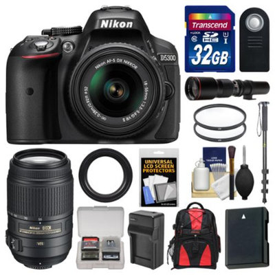Nikon D5300 Digital SLR Camera & 18-55mm G VR DX II AF-S Zoom Lens (Black) with 55-300mm & 500mm Lenses + 32GB Card + Backpack + Battery & Charger + Monopod Kit